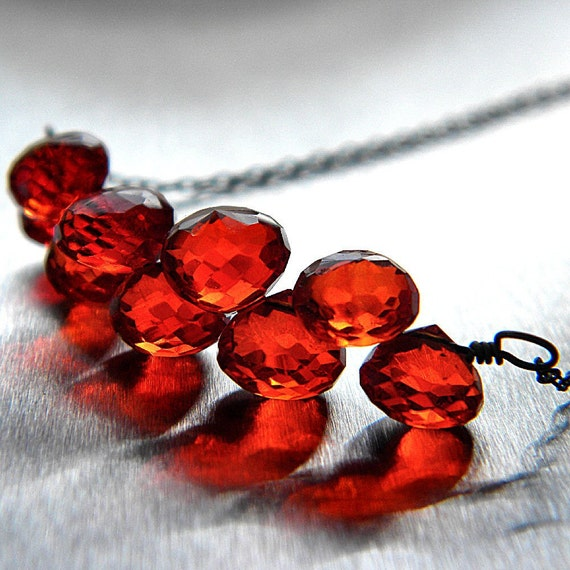 Black Friday Cyber Monday Lipstick Red Quartz Candy Kiss Oxidized Sterling Silver Cluster Necklace - Forest Fire