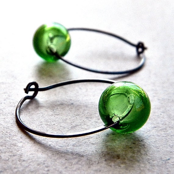 Hoop Earrings, Leaf Green Blown Glass Antiqued Brass Hoops - Fern