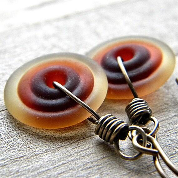 Rootbeer Brown Lampwork Glass Disk Antiqued Brass Earrings - Creme Brulee