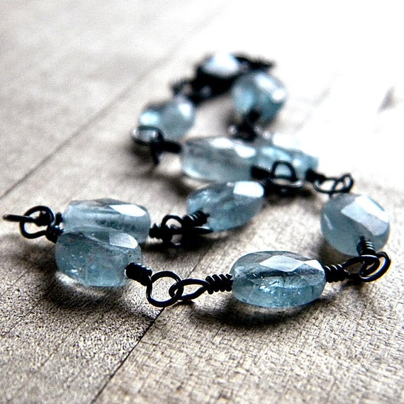 Aquamarine Bracelet, Azure Sky Blue Aquamarine Oxidized Sterling Silver Wire Wrapped Bracelet Aquamarine Jewelry March Birthstone - Cool