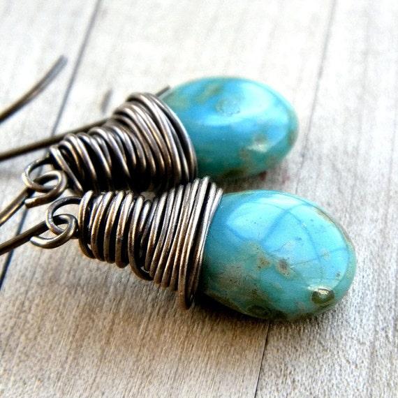 Turquoise Earrings, Mottled Turquoise Blue Glass Teardrop Antiqued Brass - Tucumcari