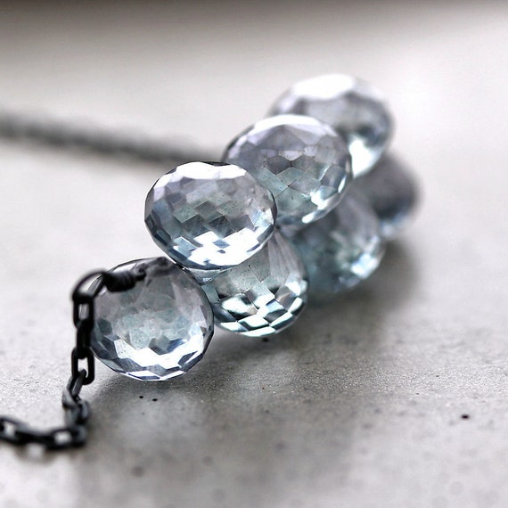 Denim Blue Topaz Necklace, Mystic Gray Blue Topaz Oxidized Sterling Silver Cluster Necklace - Winter Shadow