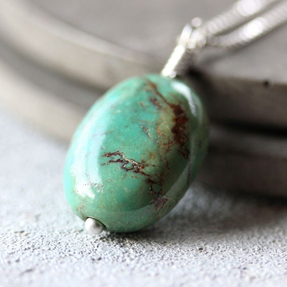 Turquoise Necklace, Blue Green Stone Sterling Silver Necklace December Birthstone Turquoise Jewelry - Santa Fe
