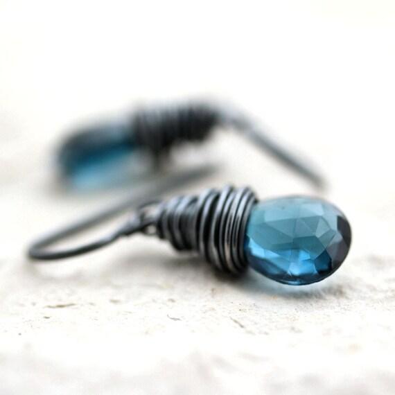 London Blue Topaz Earrings, Ocean Blue Stone Oxidized Sterling Silver Earrings December Birthstone - Dreamscape