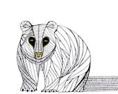 BEAR LINE DRAWING- Art by Thailan When