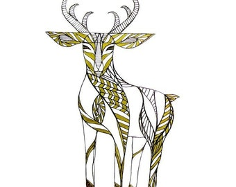 DEER LINE DRAWING- Art by Thailan When