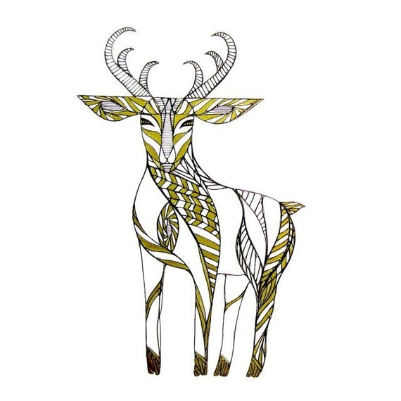 Line Drawings Of Animals Deer : Deer line drawing art by thailan when