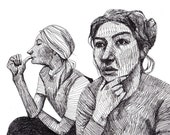 Monotone / ORIGINAL ILLUSTRATION / Black on white / Scribble / Pen drawing / Holding my head / Thinking / Two women / Gesture
