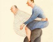 Equal Rights / ORIGINAL ILLUSTRATION / Married couple / Fat people / Children illustration / Blue dress / Caricature