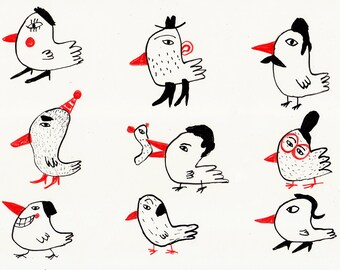 birds or people / ORIGINAL ILLUSTRATION / ink drawing / Red noses / White background / Flock