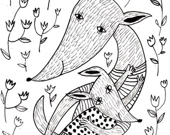 Hug me / Original black and white ink drawing / Animal drawings / Fox / Mother and sun / Flowers background / Children illustration