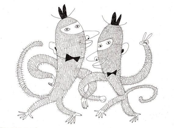 Gentleman monkey / ORIGINAL DRAWING / Joke / Monkeys holding hand / Pen drawing / Black and white / Character illustration