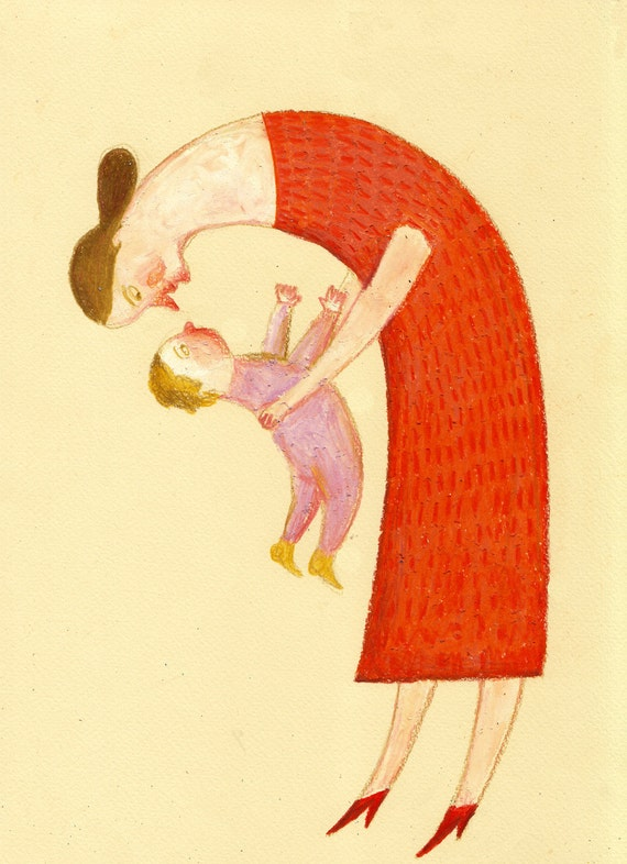My little baby / ORIGINAL ILLUSTRATION / Home decor / Babies room / Red dress / Mother and son / Yellow