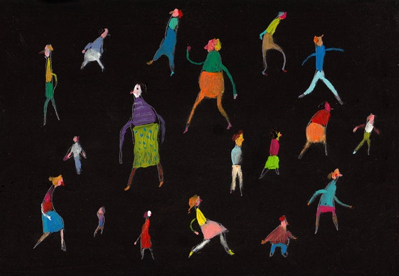 People in Motion / ORIGINAL PAINTING/ acrylic black painting / small people / pattern