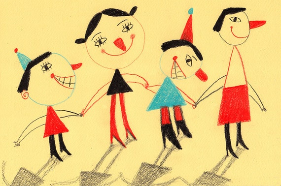 Happy holiday / ORIGINAL ILLUSTRATION / holding hands / Yellow background / Red noses / Children Illustration / Funny faces