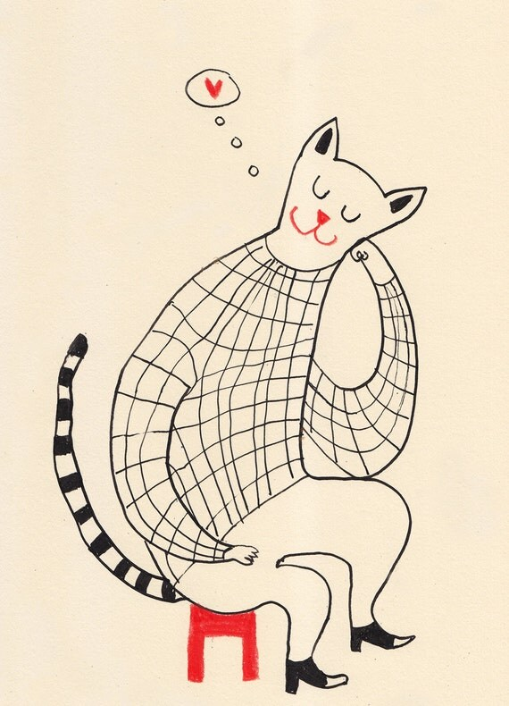 think about it  / ORIGINAL  ILLUSTRATION / ink drawing of cat love / Heart shape