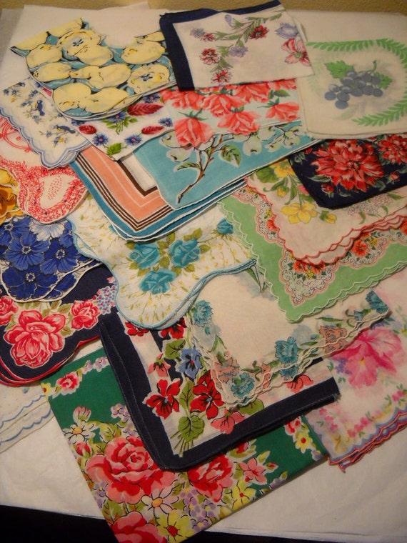 22 Vintage Handkerchiefs Flowers Floral