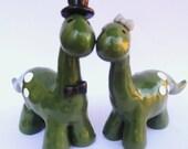 Dinosaur Couple - Wedding Cake Topper, Polymer Figures