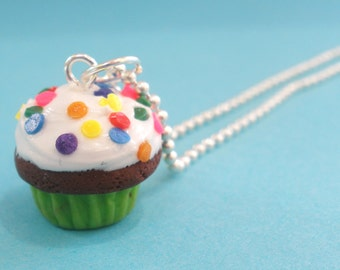 Cupcake necklace- Chocolate Confetti