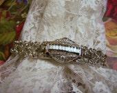 RESERVED, BROOKE .... Vintage Rhinestone Bracelet Jeweled Watch Cover Bling