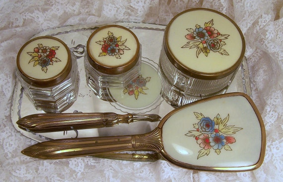 RESERVED Vintage vanity dressing table set / 3 glass containers jars hairbrush and mirror