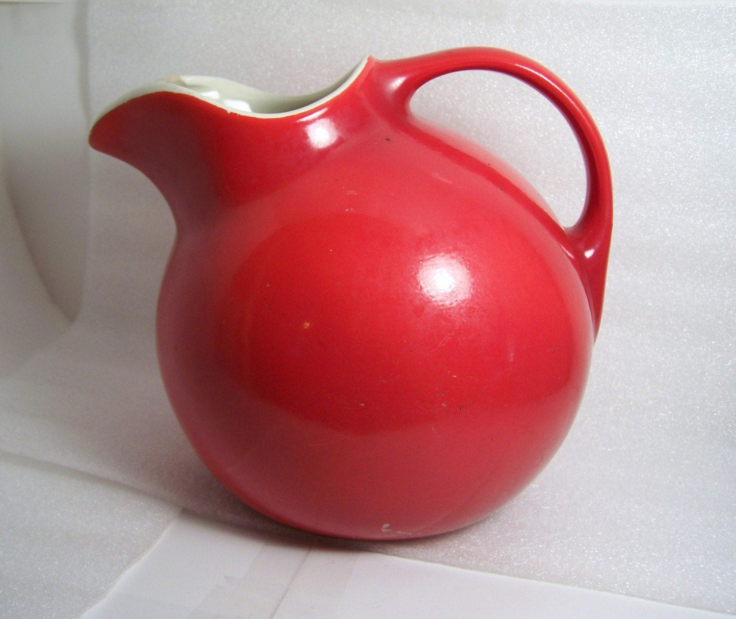 Vintage Ball Red Hall Water Pitcher Lemonade Jug