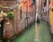 Venice Photography Gondola Photograph Italy Photo Italian Colors Hanging Laundry Canal Wall Art Coral ven27
