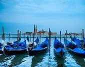 Venice Photo Gondola Print Italy Photograph Piazza San Marco Venice Print Night San Marco Canal Blue ven18