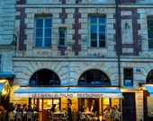Paris Cafe Photo, Bistro Photograph France Restaurant Dining Blue Night Evening Parisian Building Wall Art par18
