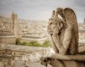 Gargoyle Photograph, Hunchback Notre Dame Photo Quasimodo Print Paris Photography Hugo Wall Art Neutral Colors par31