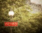 Paris Photography, Metro Sign France Print Green Red Beaux Arts Street Lamp Shabby Chic Wall Art Home Decor par50