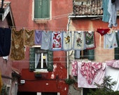 Italy photograph Laundry Photo Red Shabby Chic Vintage  Venice Florence Rome Tuscany  ven22