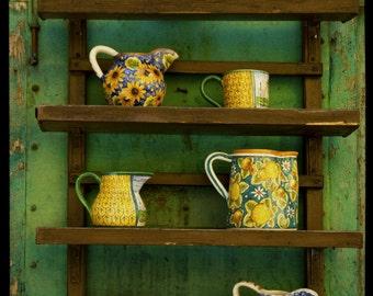 Kitchen Art Pottery Photo Green Yellow Pitcher Photograph Art for the Kitchen Crockery Shabby Chic ita12