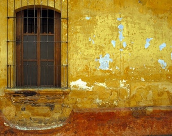 Mexico Photo, Rustic Architecture Orange Red Yellow Shabby Chic Vintage Weathered Wall Art Southwestern Style lat4