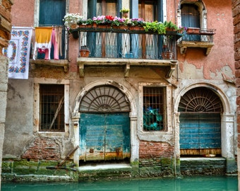 Venice Photograph, Italy Photo Hanging Laundry Balcony Canal Window House Flowers Shabby Chic Red Wall Art ven35