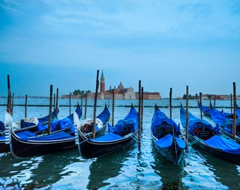Venice Photo Gondola Print Italy Photograph Piazza San Marco Venice Print Night San Marco Canal Blue ven18