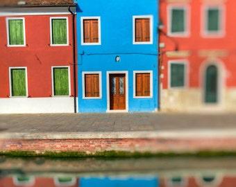Burano Photo, Italy Photography, Italian Colors Colorful Walls House Red Orange Blue Village ita31
