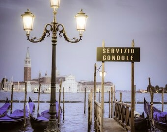 Gondola photograph, Venice Photograph Venetian Night San Marco Print Violet Purple Wall Art Home Decor ven34