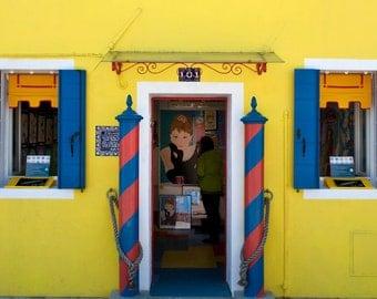 Burano Photograph, Italy Photography Italian Village Photo Lemon Yellow Colorful House Audrey Hepburn Wall Art ita2