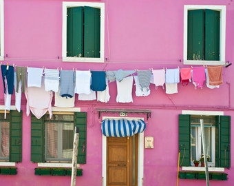 Burano Photograph Italy Photography Laundry Photo Pink House Red Wall House Feminine Shabby Chic Home Decor ita40