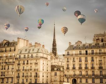 Paris Photography, Hot Air Balloons Photo, Romantic Wall Art Dreamy France Print Beige Neutral Colors par22b