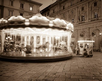 Italy Photography, Carnival Photo Carousel Photograph Florence Rome Tuscany Black and White Wall Art ita81