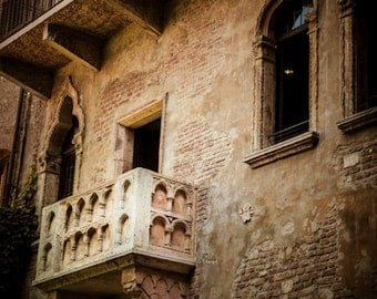 Verona Photograph Shakespeare Photo Romeo and Juliet Balcony Italy Photography Romantic Neutral Colors ita82