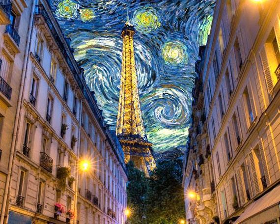 Paris Photograph Van Gogh Print Midnight in Paris Eiffel Tower Photo Woody Allen Starry Night Print par25