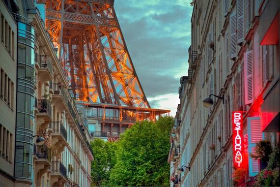 Eiffel Tower Photo, Paris Photography Evening Light Restaurant Bistro Cafe Apartments France Wall Art Decor par26