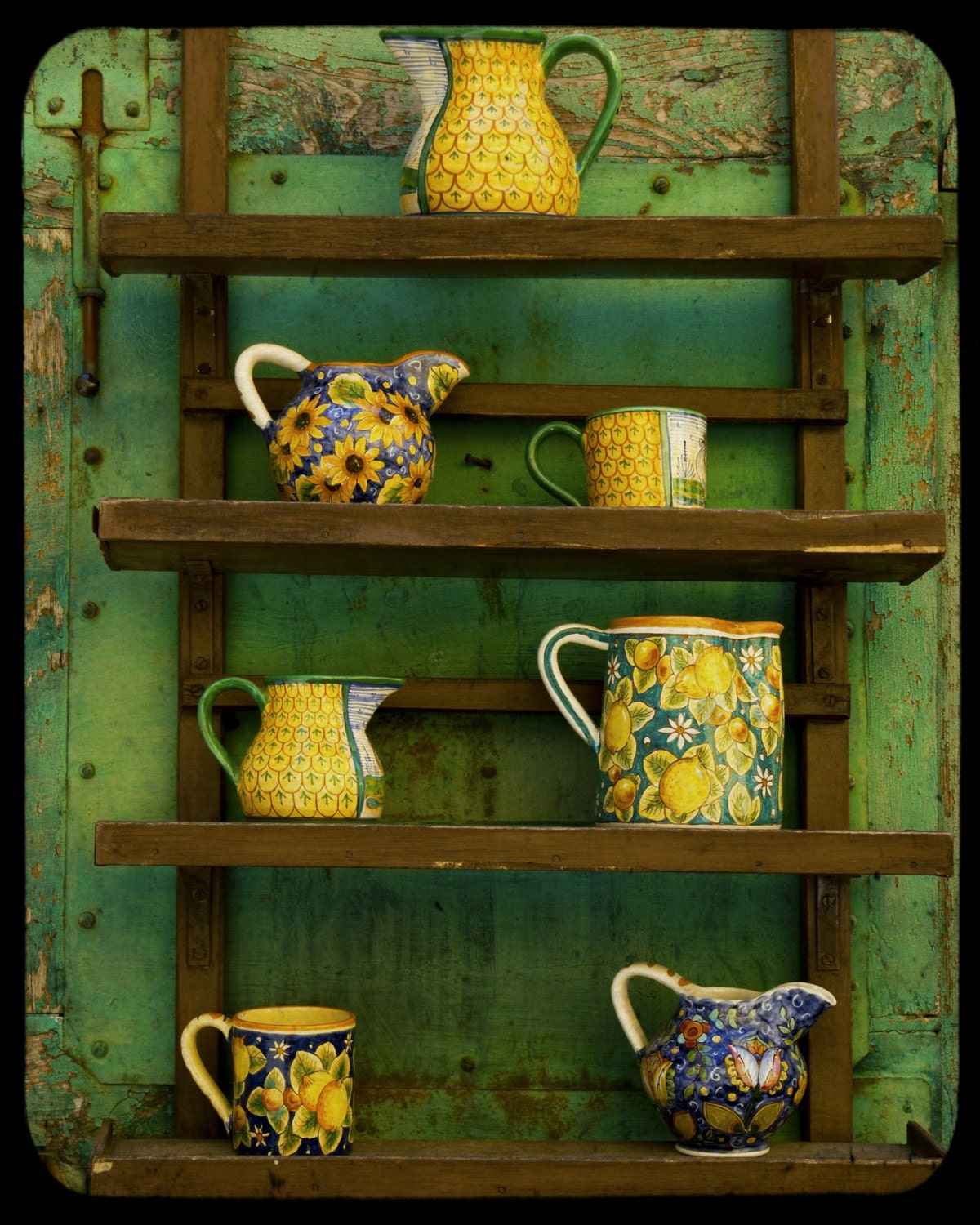 Yellow Kitchen Art: Kitchen Art Pottery Photo Green Yellow Pitcher Photograph Art
