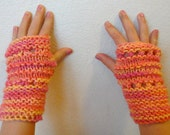 Fingerless Gloves Wrist Warmers Child Hot Pink Orange