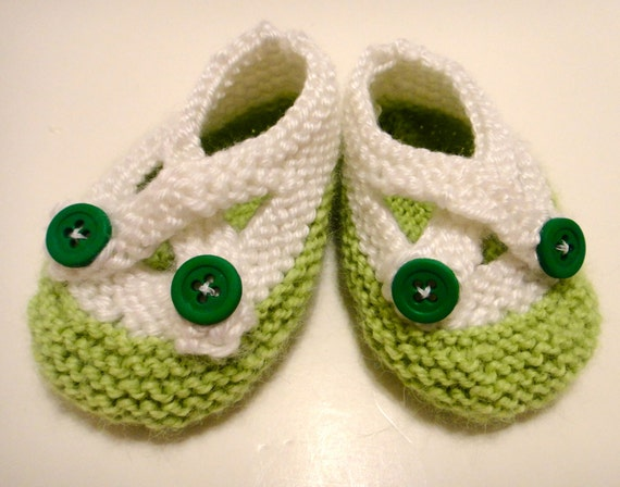 Baby Booties Green White Buttons
