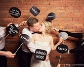 24 wedding photo booth prop signs - diy printable file - chalkboard speech bubbles, photo props, reception fun, instant download funny decor