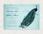 vintage peacock wedding invitation printable diy wedding invitations bridal shower or rehearsal dinner invite